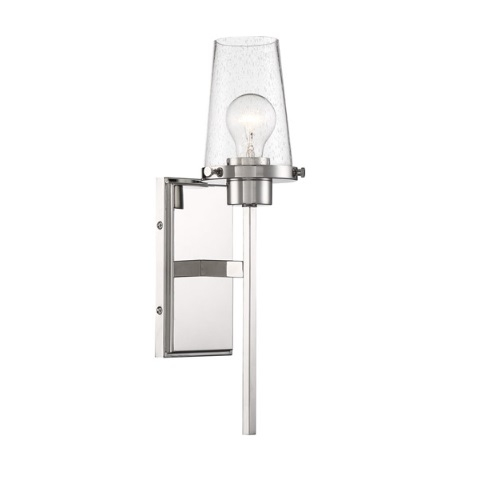 100W Rector Series Wall Sconce w/ Clear Seeded Glass, Polished Nickel