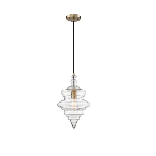 100W Ballarat Series Pendant Light w/ Clear Glass, Burnished Brass