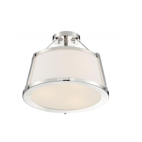 60W Cutty Series Semi Flush Mount Light w/ White Fabric Shade, 3 Lights, Polished Nickel