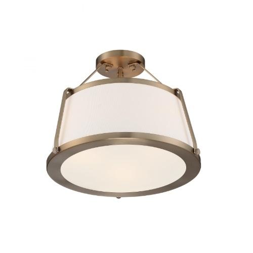 60W Cutty Series Semi Flush Mount Light w/ White Fabric Shade, 3 Lights, Burnished Brass