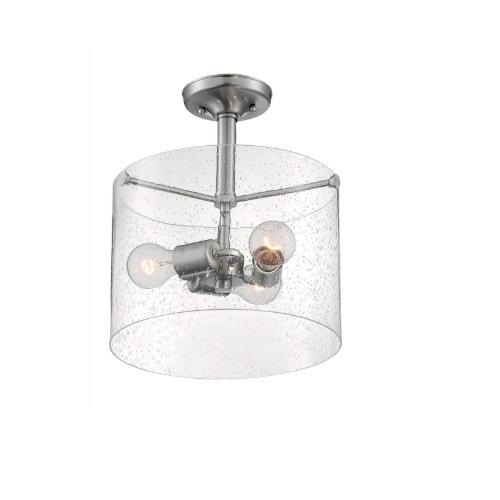 60W Bransel Series Semi Flush Mount Ceiling Light w/ Seeded Glass, 3 Lights, Nickel