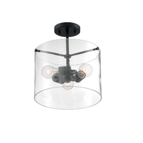 60W Sommerset Series Semi Flush Ceiling Light w/ Clear Glass, 3 Lights, Matte Black