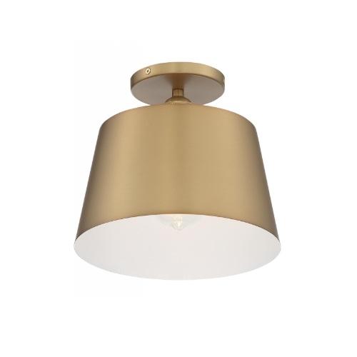 100W Motif Series Semi Flush Ceiling Light, Brushed Brass & White