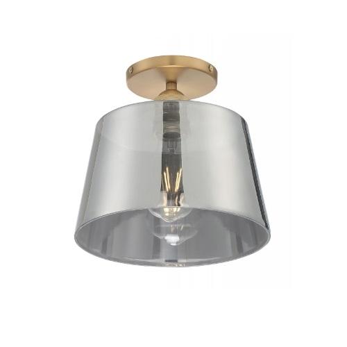 "10"" 100W Motif Series Semi-Flush Mount Ceiling Light w/ Smoked Glass, Brushed Brass"
