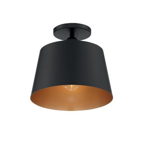 100W Motif Series Semi Flush Ceiling Light, Black & Gold