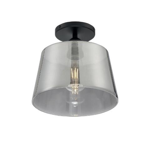 "10"" 100W Motif Series Semi-Flush Mount Ceiling Light w/ Smoked Glass, Black"