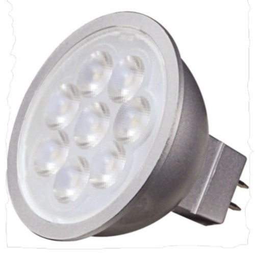 Satco Lighting 6.5MR16/LED/25\'/30K/12V 6.5W LED MR16, Dimmable, GU5.3 Base, 3000K