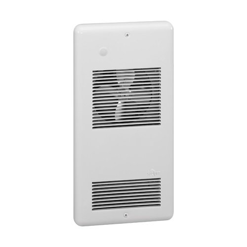 1000W Pulsair Wall Fan Heater, 120 V, Double Pole Thermostat, Silver