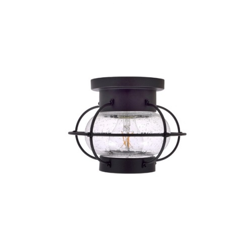 8.5W LED Essex Semi-Flush Mount w/ Seeded Glass, Dimmable, 800 lm, 2700K, Black