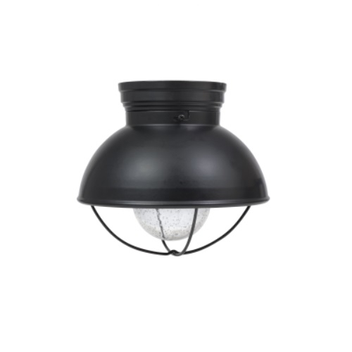 8.5W LED Beverly Semi-Flush Mount w/ Seeded Glass, Dimmable, 800 lm, 2700K, Black