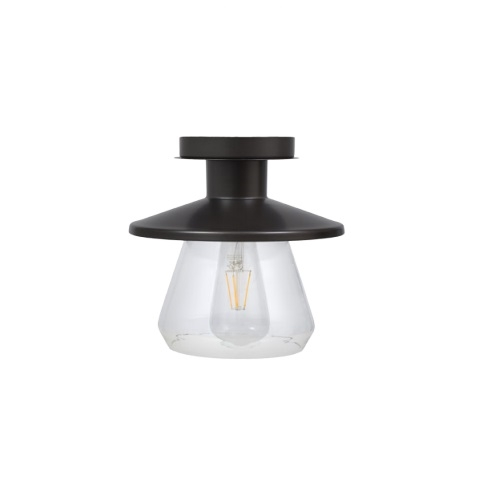 6.5W LED Lincoln Semi-Flush Mount w/ Clear Glass, Dimmable, 800 lm, 2700K, Black