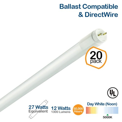 12W LED T8 Tube (27W Fluorescent Replacement) 5000K, 4-Ft