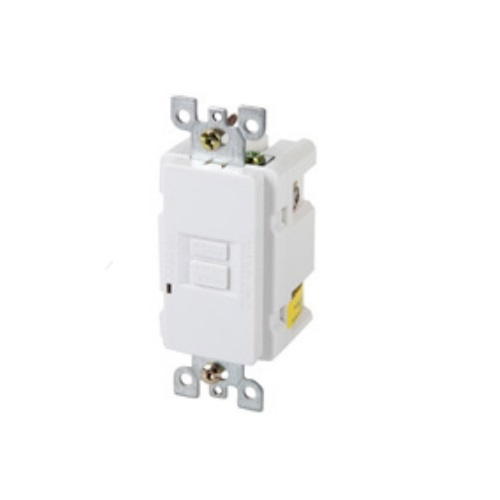 GFCI Duplex Receptacle, Self-Test, Blank Face, 20 Amp, White