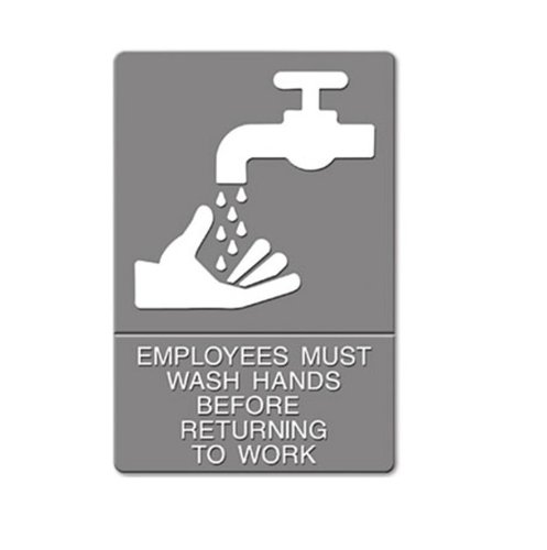"""Gray/White """"Employees Must Wash Hands"""" ADA Sign 6X9"""