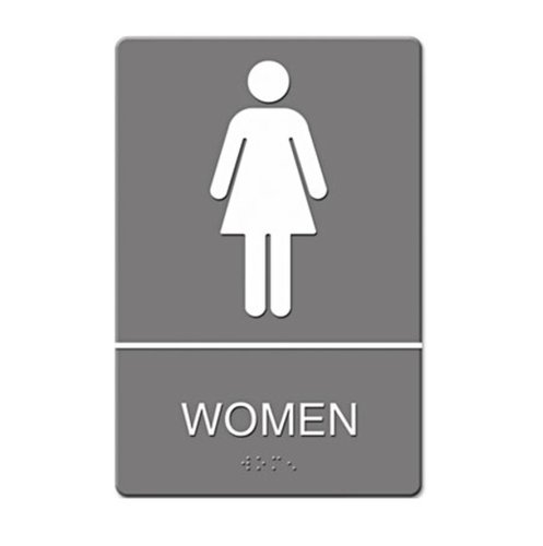 "Gray/White ""Women"" ADA Sign 6X9"