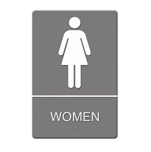"""Gray/White """"Women"""" ADA Sign 6X9"""