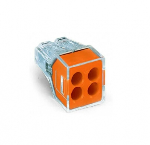 Push Wire Connector, 4 Conductor, Up to 12 AWG, Orange, Pack of 2500