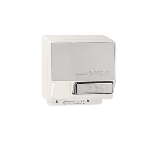 2000W Push-Button AirSpeed Hand Dryer w/Brushed Front Panel, 208V-240V, Aluminum, White Body