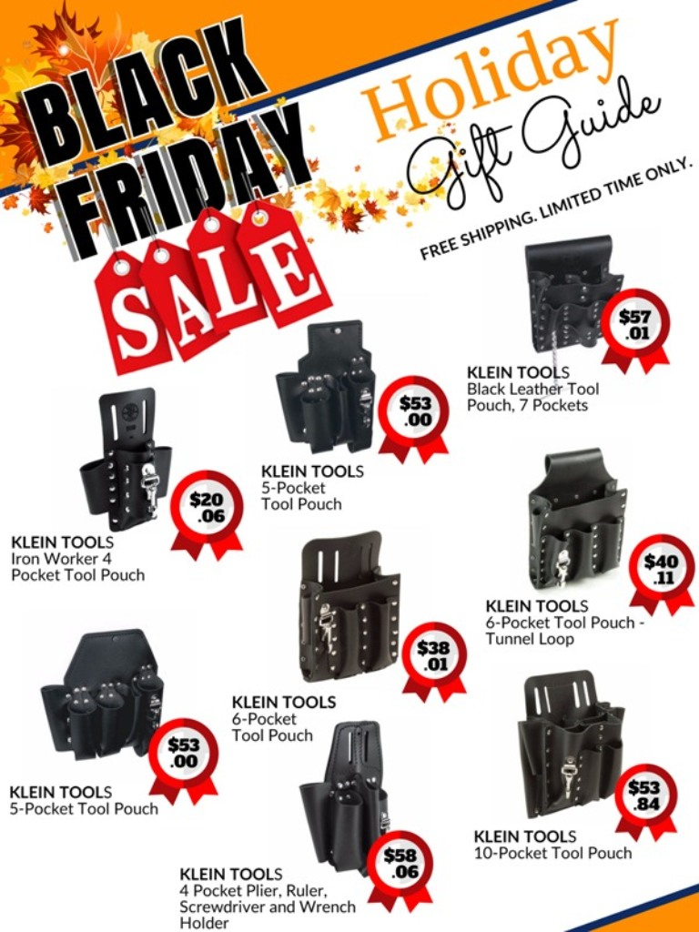 black Friday holiday sale catalog for Klein tools pouches