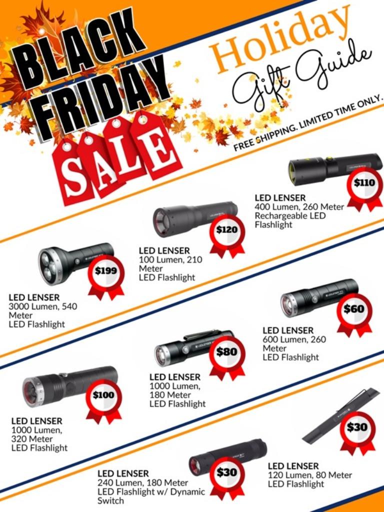black Friday holiday sale catalog for LED Lenser flashlights