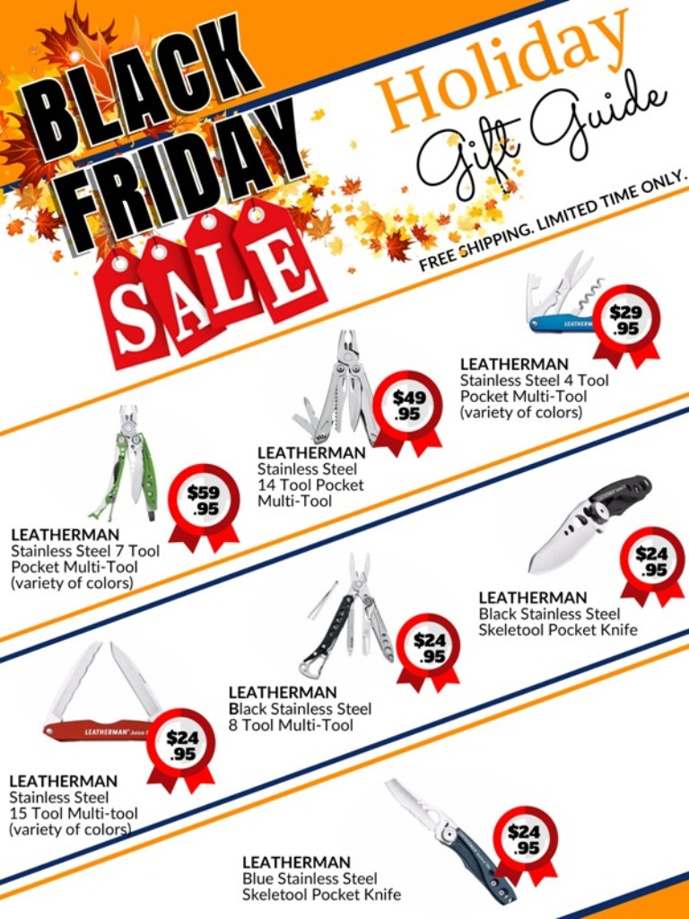black Friday holiday sale catalog for Leatherman Multi tools