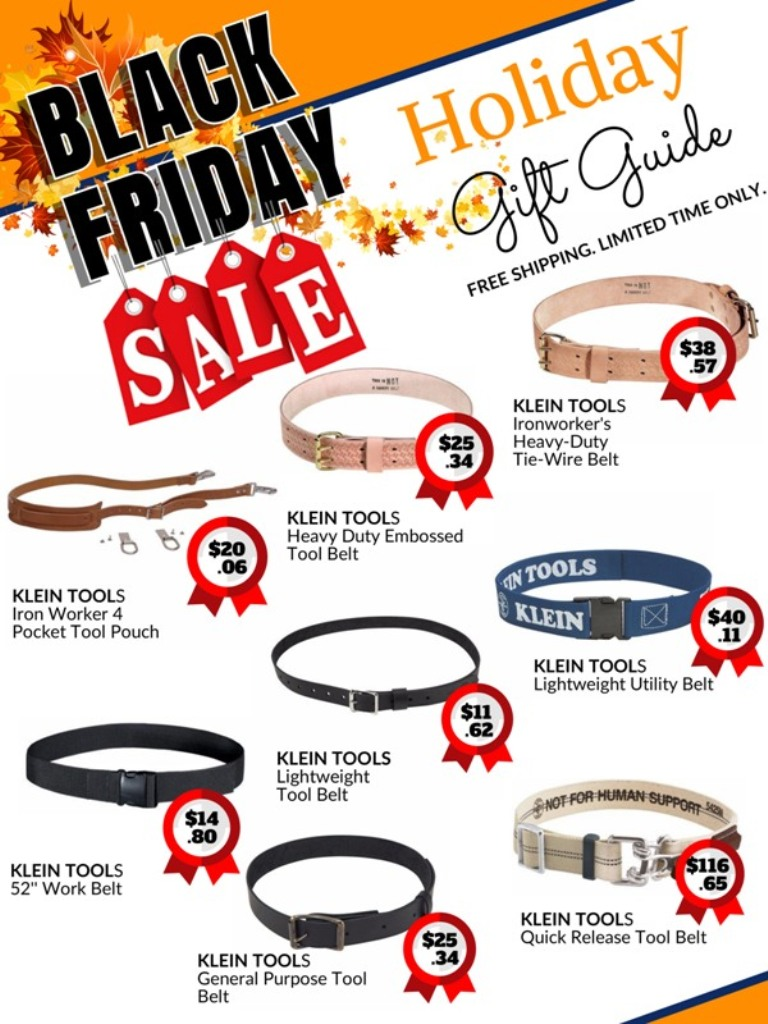 black Friday holiday sale catalog for Klein tools tool belts
