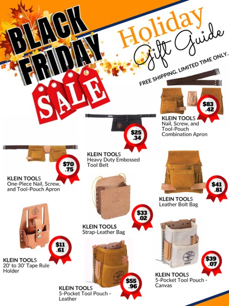 black Friday holiday sale catalog for Klein tools belts, pouches, carriers