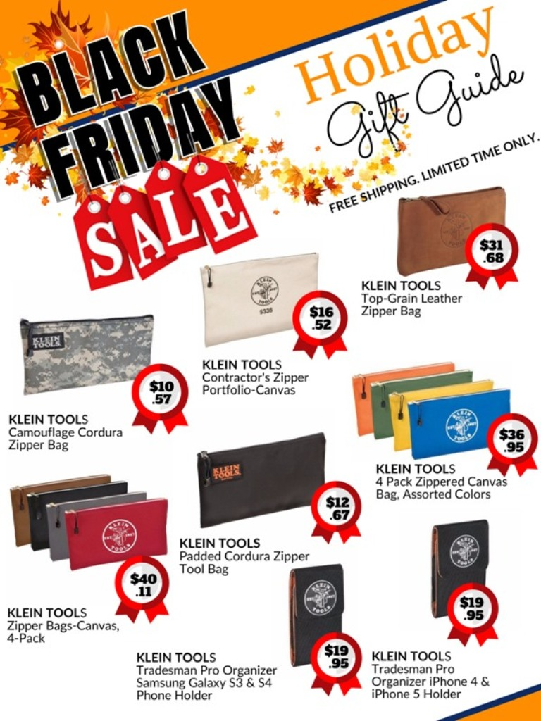 black Friday holiday sale catalog for Klein tools zipper tool bags