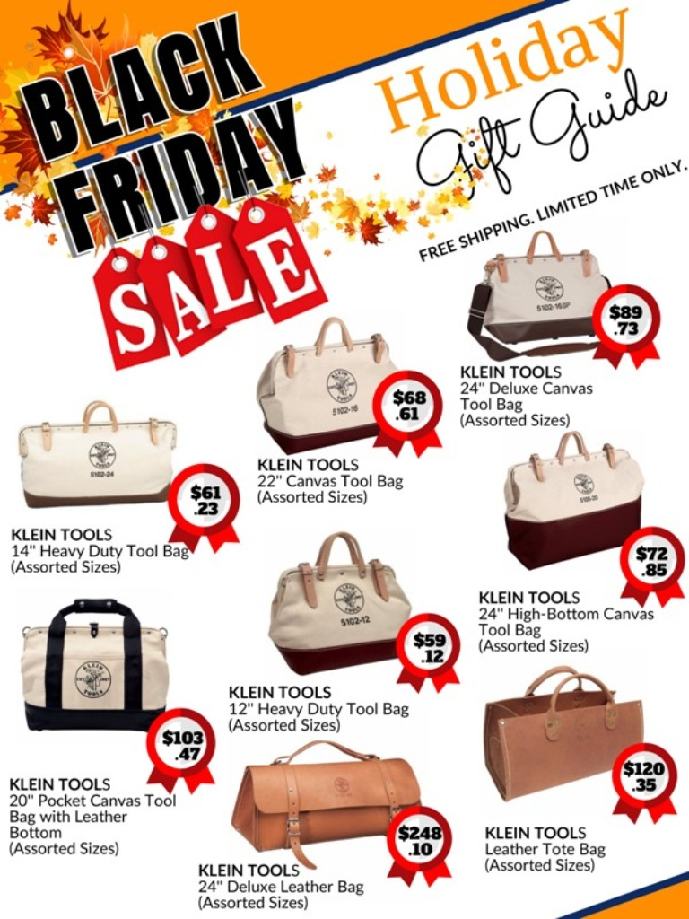 black Friday holiday sale catalog for Klein Tools canvas and leather tool bags
