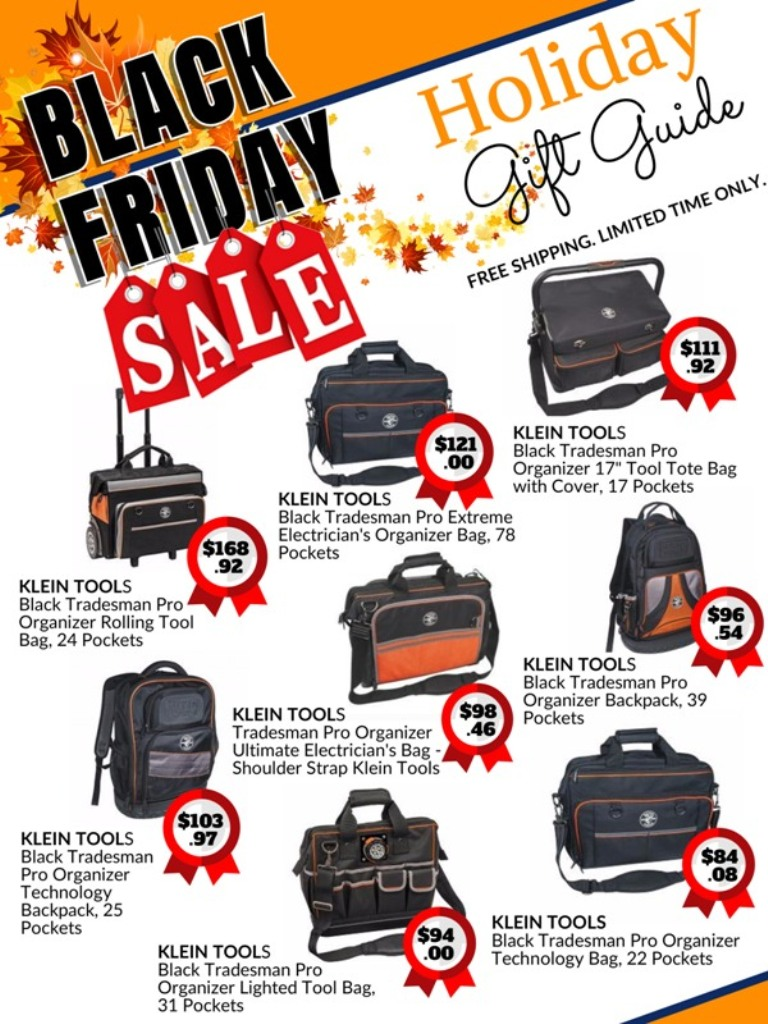 black Friday holiday sale catalog for Klein Tools Tradesman Pro tool organizers, bags, and backpacks