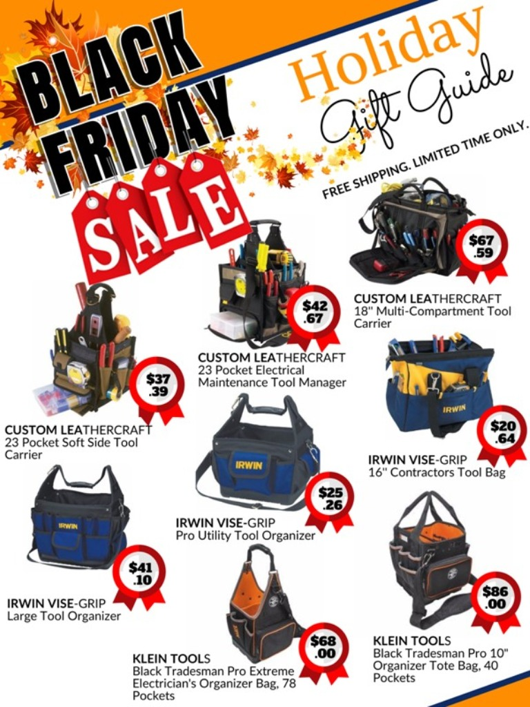 black Friday holiday sale catalog for Klein Tools and Irwin Vise Grip tool bags and tool carriers