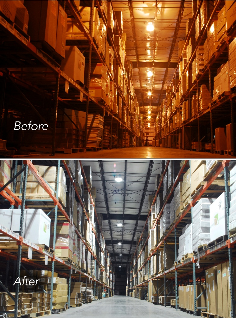 Retrofit led lighting in warehouse