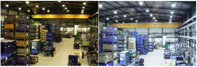 before and after low bay warehouse lighting