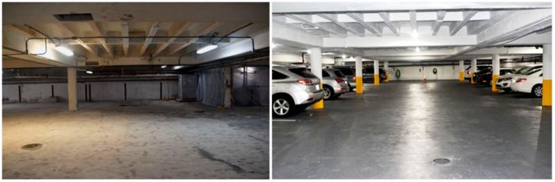 before and after low bay parking garage lighting