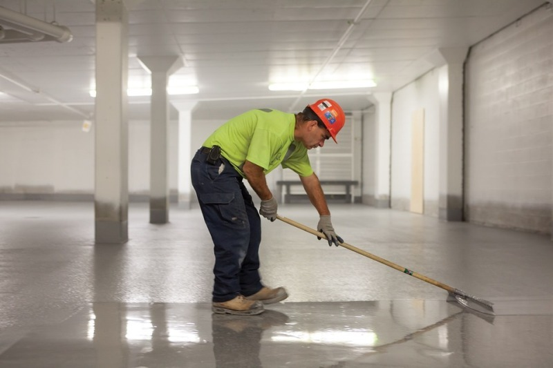 cleaning cement floor