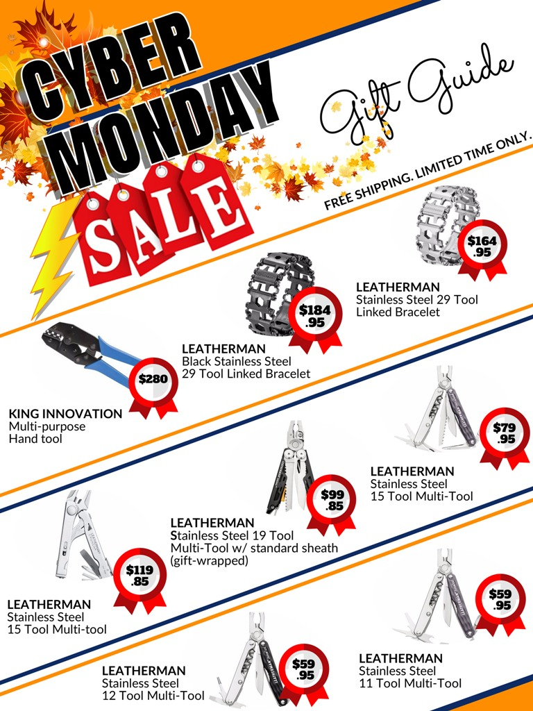 Cyber Monday holiday sale catalog for Leatherman and King Innovation multi tools