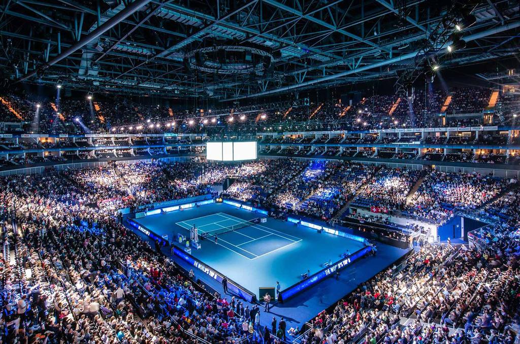 professional tennis match in stadium