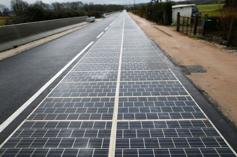 Road made from brick shaped flat solar panels