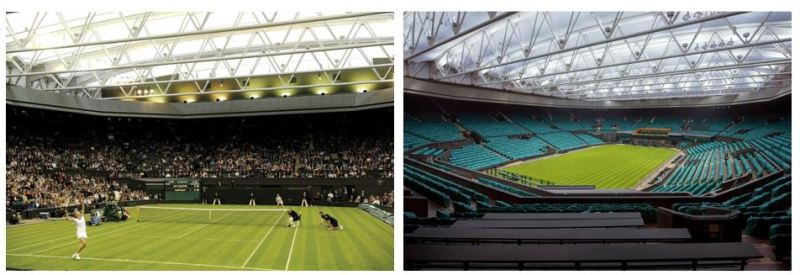 Wimbledon Centre court metal halide to LED before and after lighting retrofit