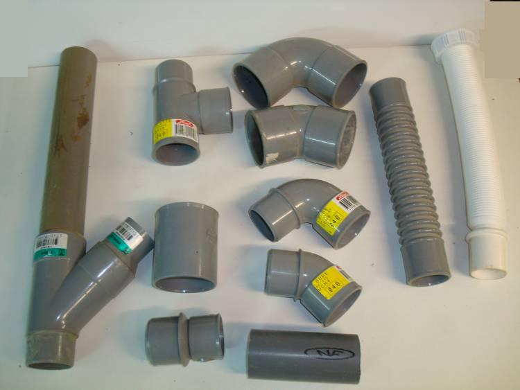 Different types of PVC pipe on a table