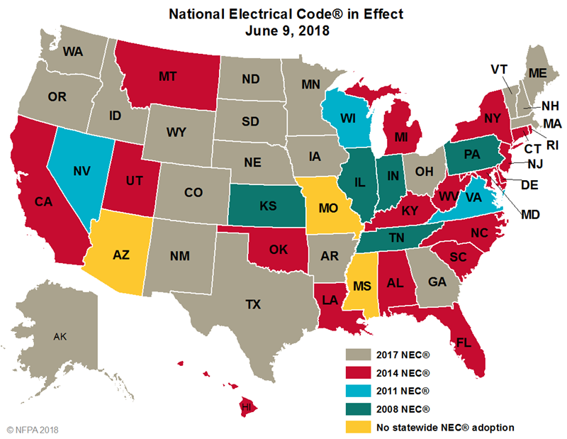 Updated 2017 Nec Code Regulations By State Homelectrical Com