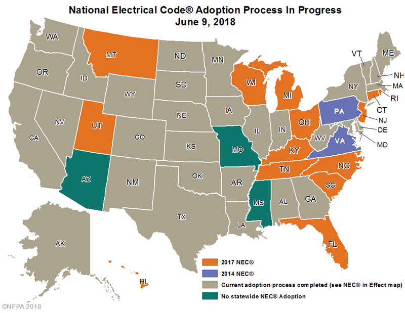 Updated 2017 NEC Code Regulations by State | HomElectrical com