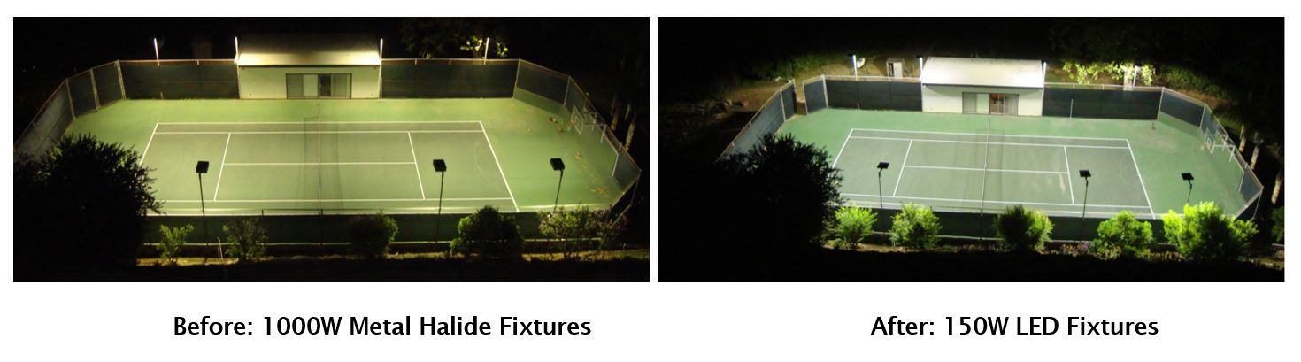 before and after outdoor tennis court lighting from metal halide to LED