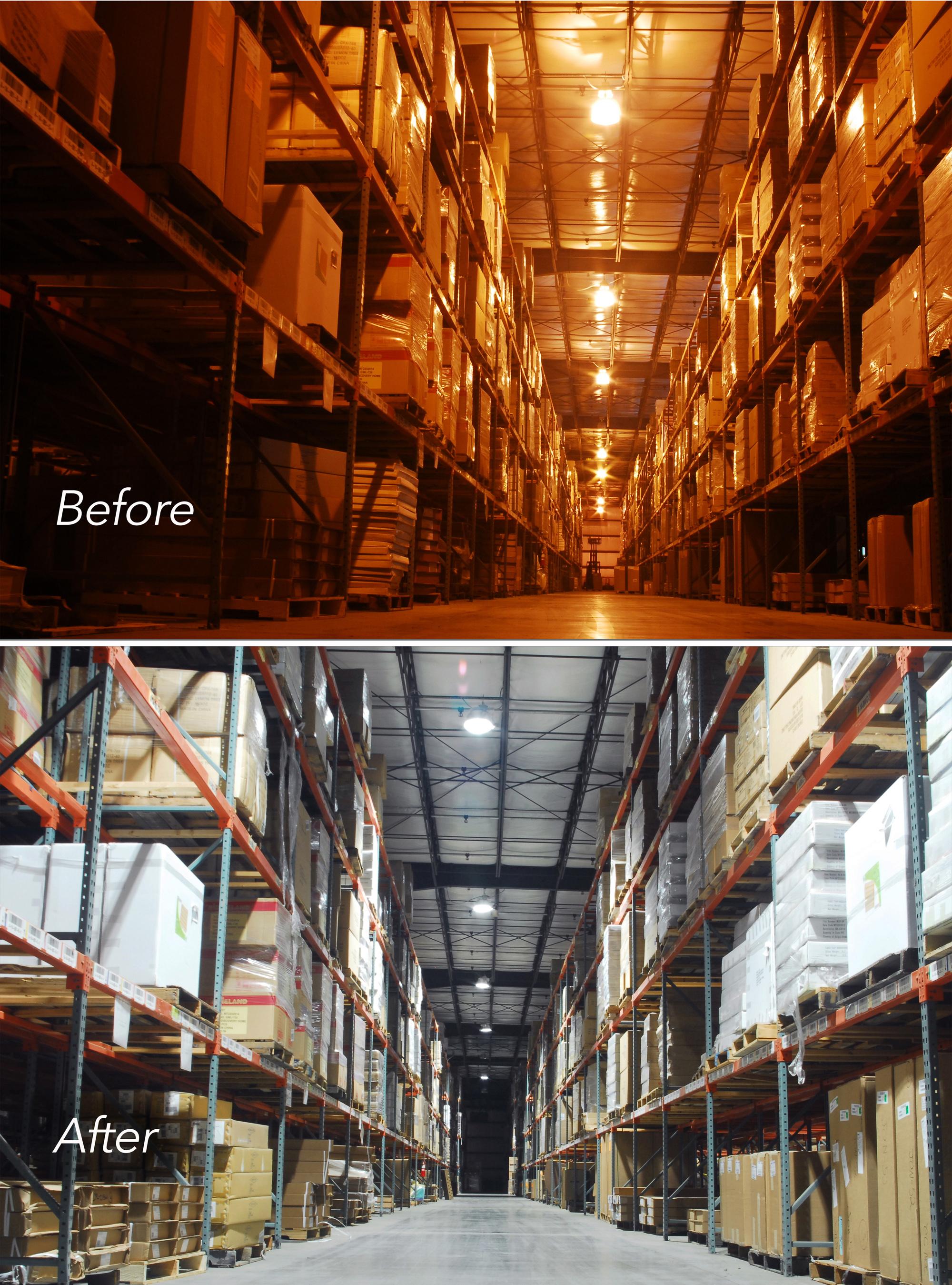 Retrofit led lighting in warehouse