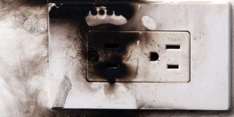 damaged electrical outlet
