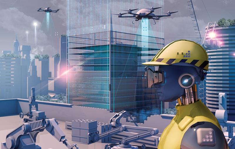 AI robot constructing a building