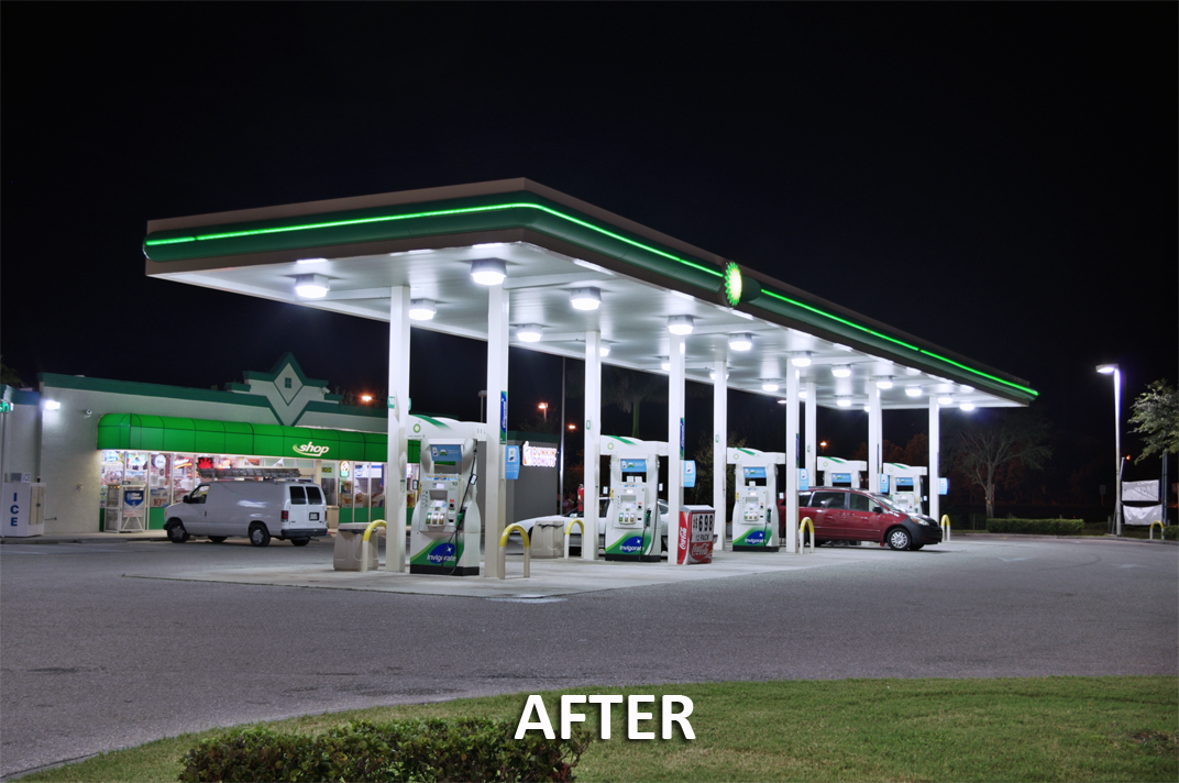 before LED canopy light installation at gas station