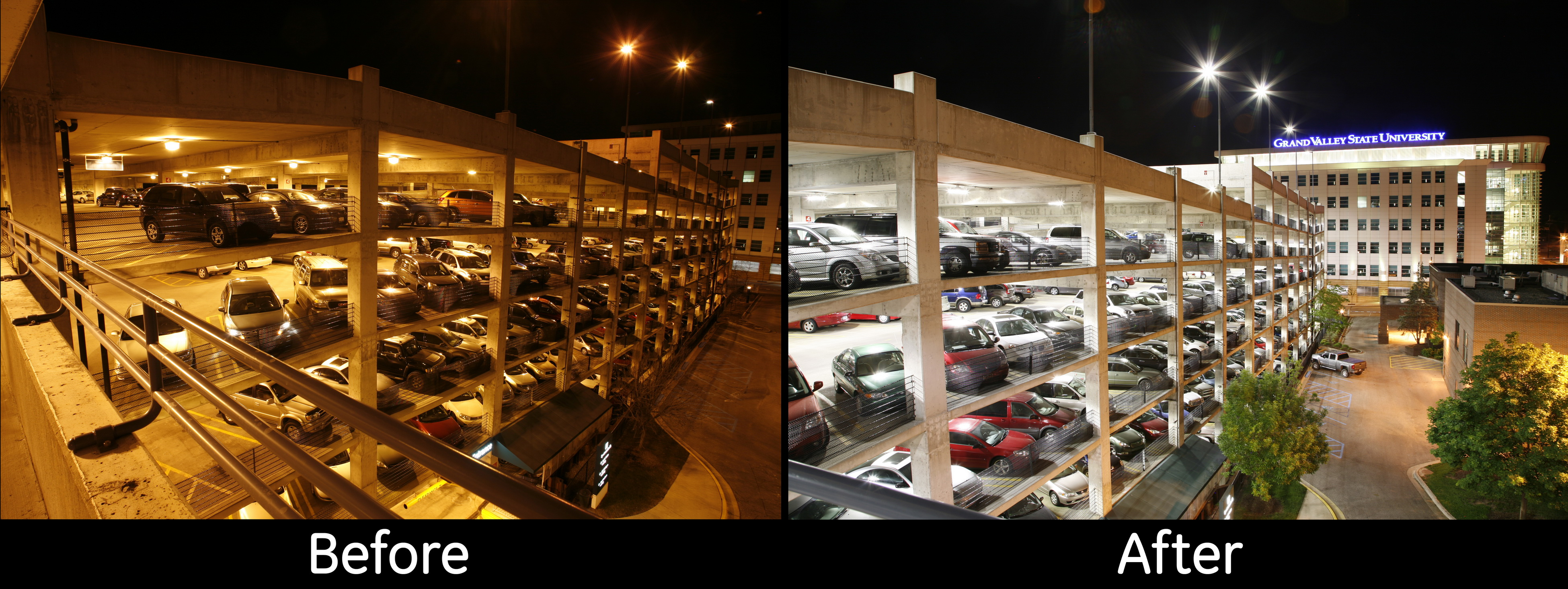 parking deck before and after canopy lighting
