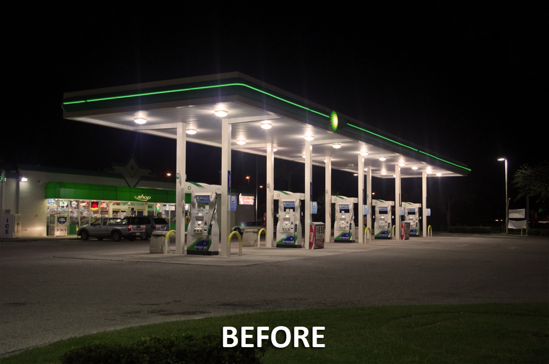 after LED canopy light installation at gas station