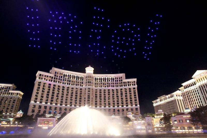 intel drone light show at Bellagio hotel